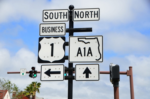 A1a sign route florida, transportation traffic.