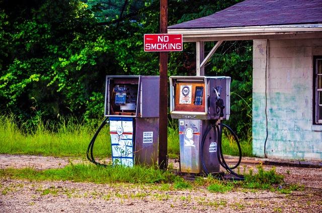 Abandoned leave petrol stations.