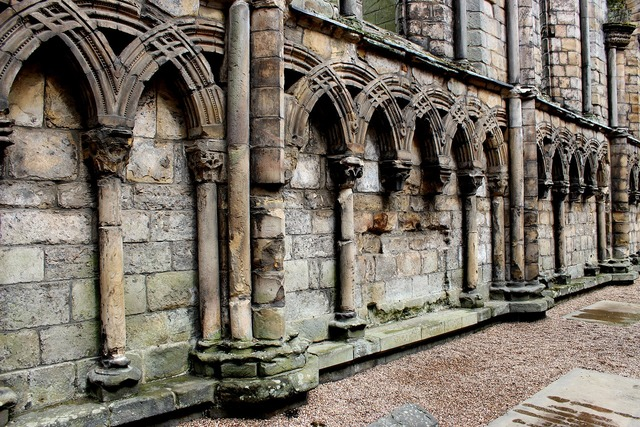 Abbey columns church, religion.