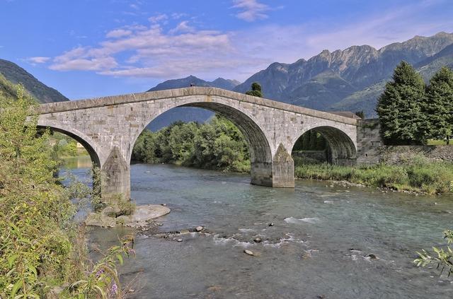 Adda river romanesque bridge ganda bridge, architecture buildings.