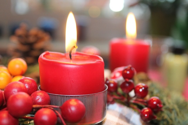Advent wreath candle red.