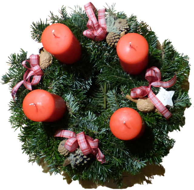 Advent wreath candles arrangement.