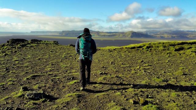 Adventure backpack cliff, people.