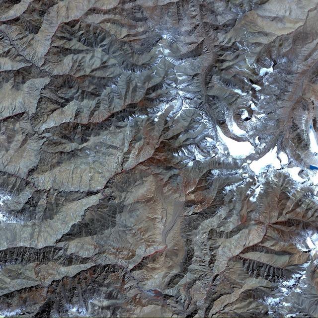 Aerial view satellite photo tibet.
