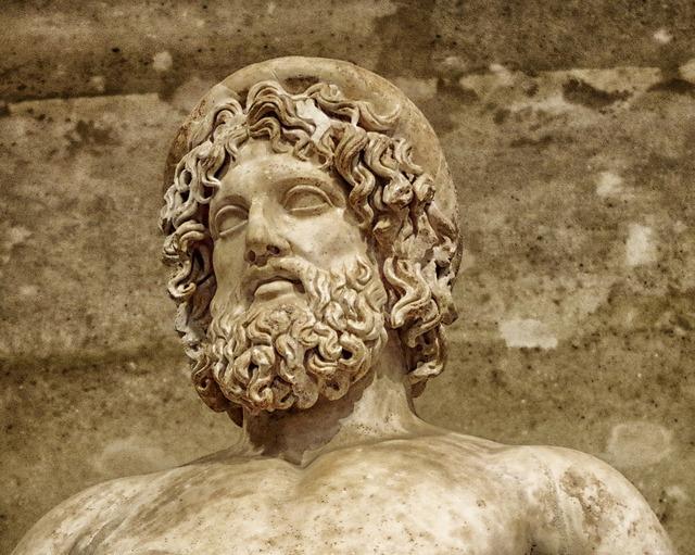 Aesculapius statue sculpture, architecture buildings.