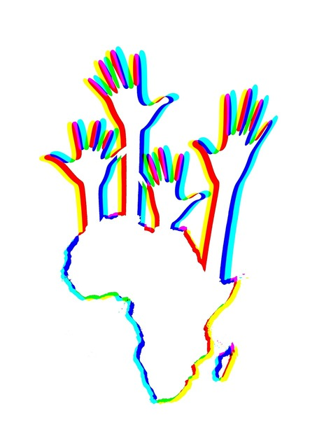 Africa continent hands, education.