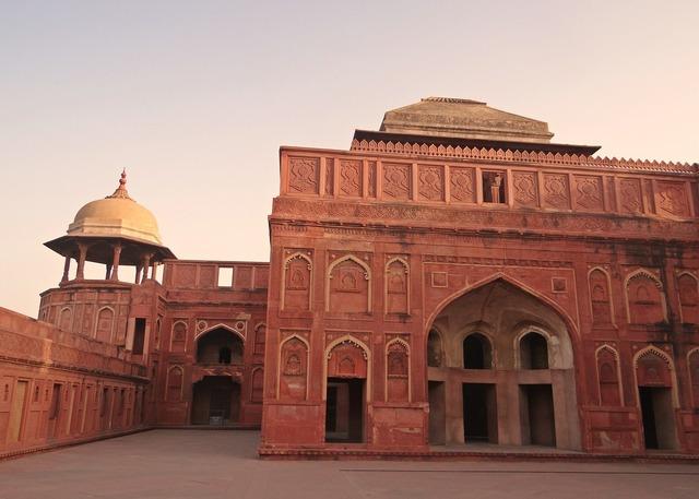 Agra fort castle palace, architecture buildings.