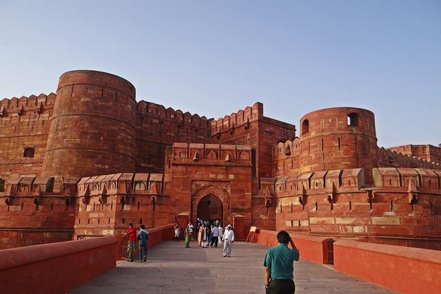 Agra fort unesco heritage site castle, architecture buildings.