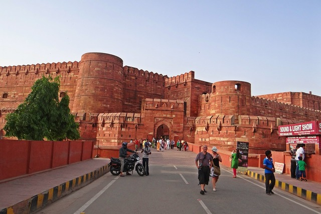 Agra fort unesco world heritage main entrance, architecture buildings.