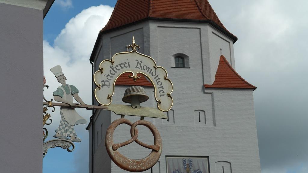 Aichach city bavaria, architecture buildings.
