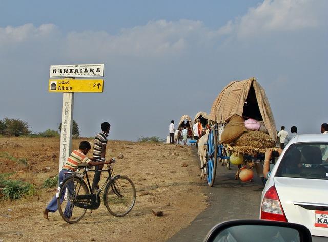 Aihole road karnataka, transportation traffic.
