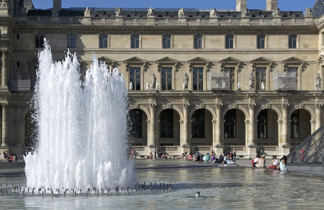Aile richelieu louvre fountain, architecture buildings.