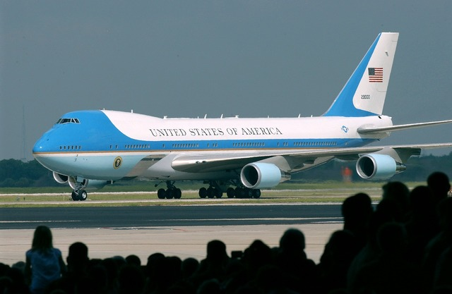 Air force one airplane ground, transportation traffic.