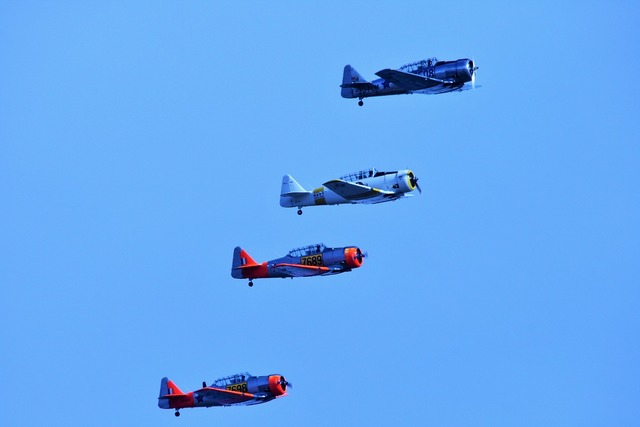 Air show aircraft formation.