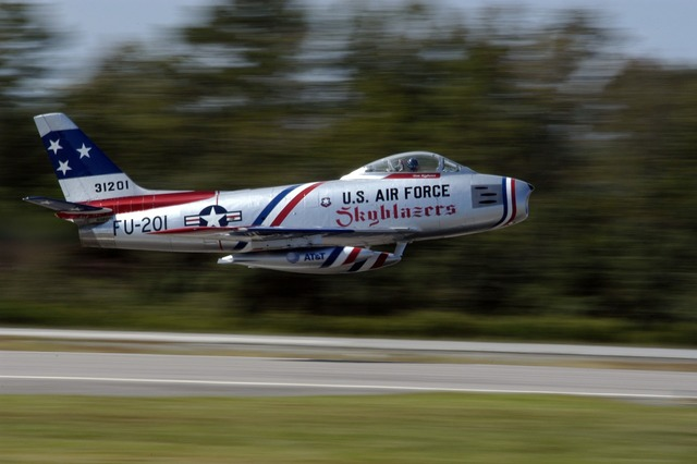 Air show sabre jet take off.