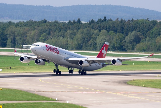Airbus a340 swiss airlines airport zurich, transportation traffic.