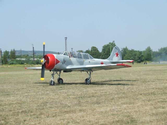 Aircraft airport yak-52.