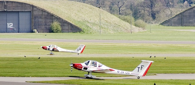 Aircraft cadet trainer airfield.