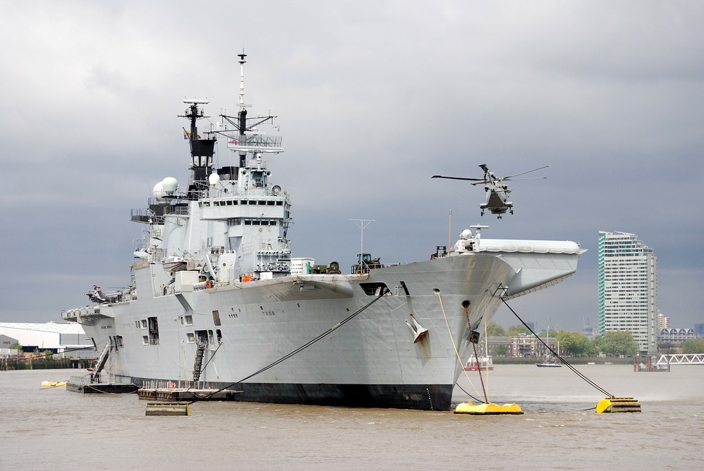 Aircraft carrier helicopter river thames, transportation traffic.