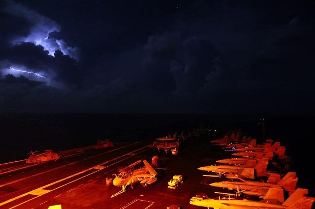 Aircraft carrier navy deck.