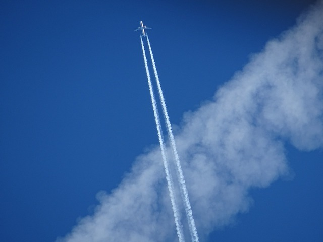 Aircraft contrail sky, travel vacation.