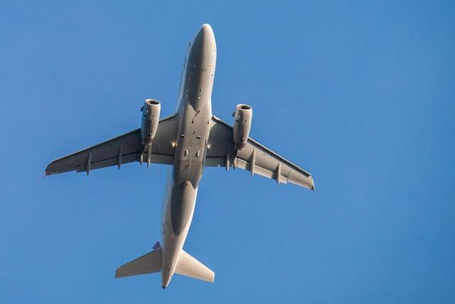 Aircraft fly sky, travel vacation.