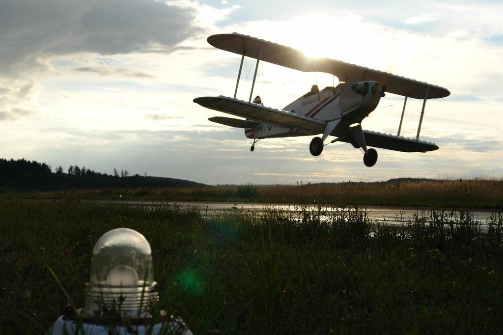 Aircraft landing fly.