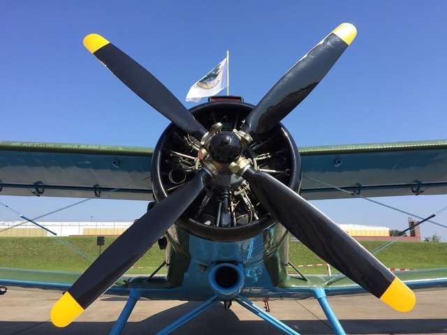 Aircraft propeller fly.