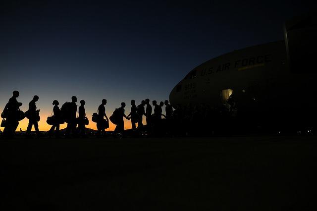 Airmen boarding plane air force, transportation traffic.