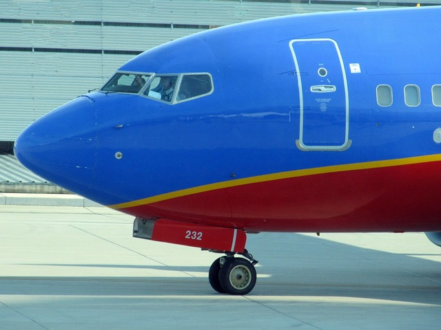 Airplane airport operations, transportation traffic.