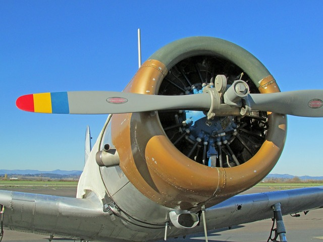 Airplane engine propeller.