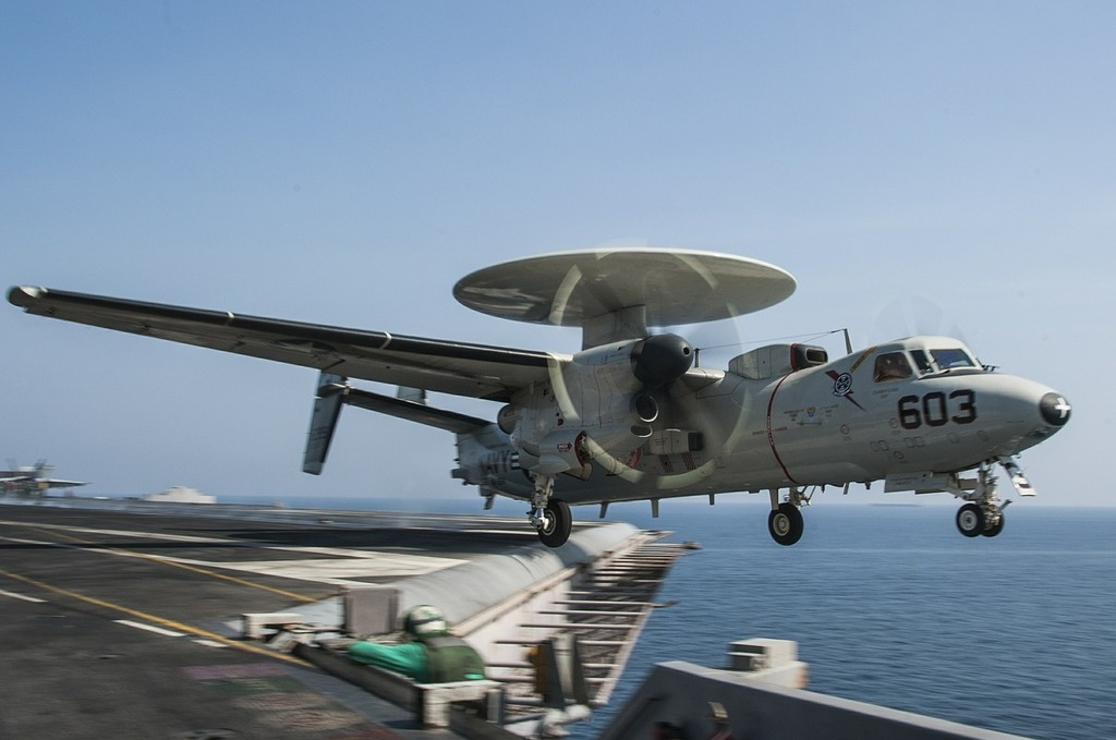 Airplane launch radar rotodome aircraft carrier.