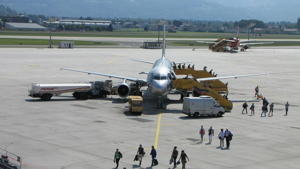 Airport salzburg aircraft, transportation traffic.