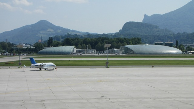 Airport salzburg runway, transportation traffic.