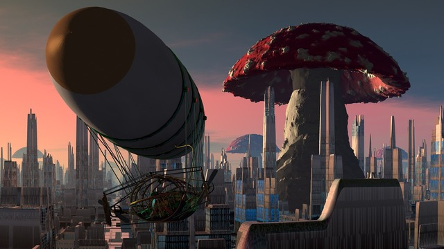 Airship city mushroom, architecture buildings.