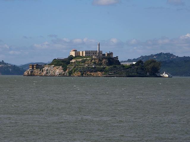 Alcatraz prison island, architecture buildings.