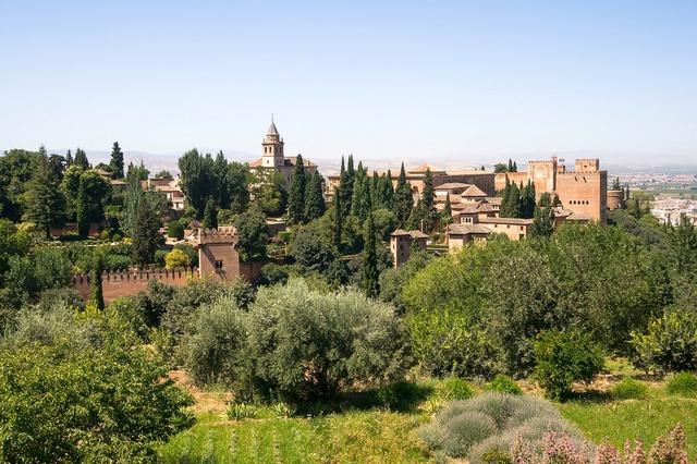 Alhambra granada spain, architecture buildings.
