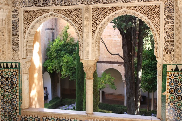 Alhambra window view, architecture buildings.