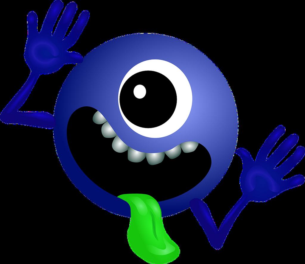 Alien dark blue smiley, emotions.