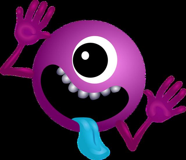 Alien purple smiley, emotions.