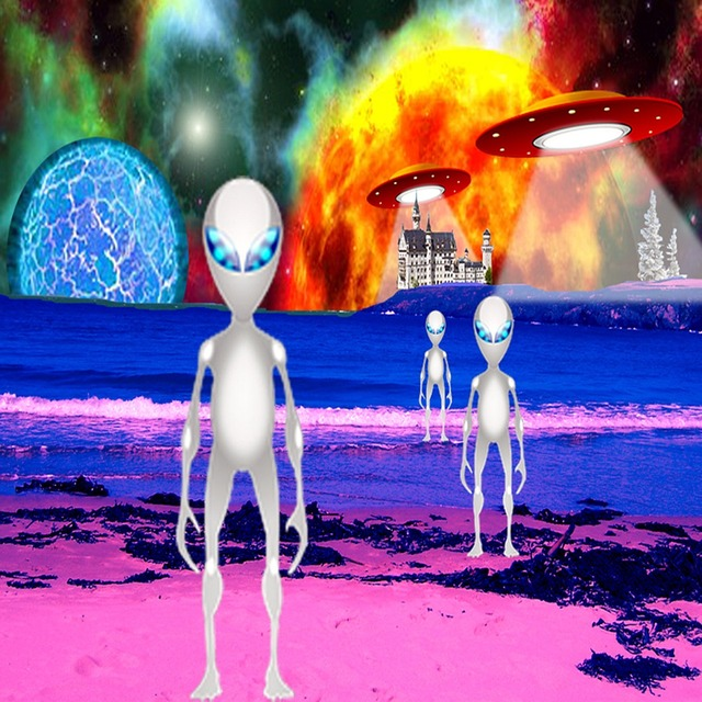 Aliens space planet, science technology.