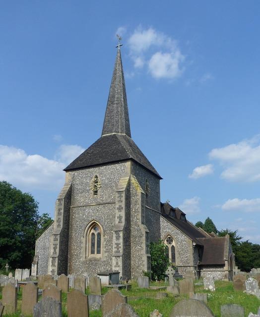 All saints church banstead england, architecture buildings.