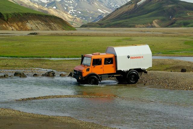 All-terrain vehicle iceland landmannalaugar, transportation traffic.