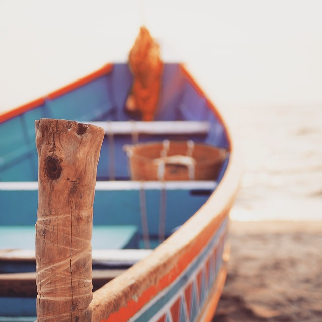 Allepey beach boat, travel vacation.