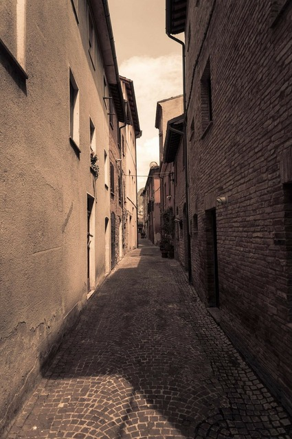 Alley sepia italy.