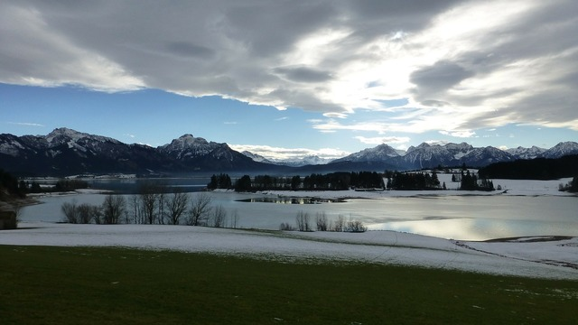 Allgäu lake forggensee winter.