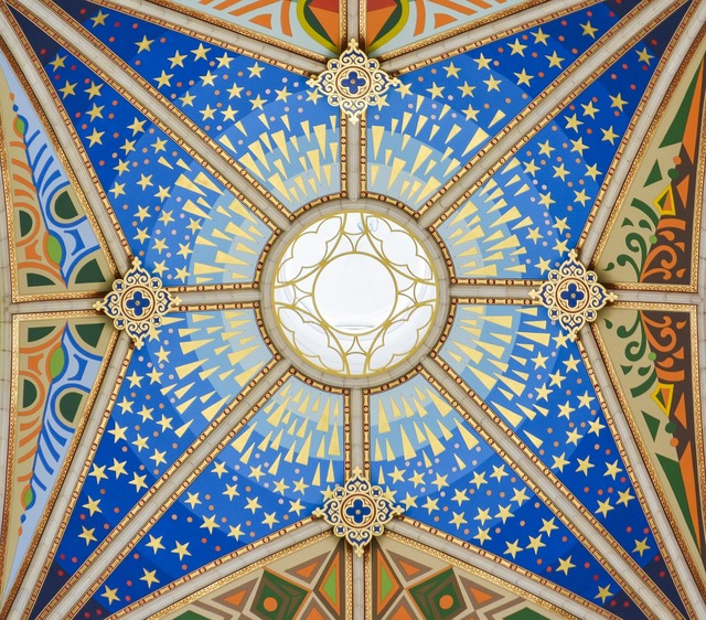 Almudena cathedral ceiling painting church, religion.