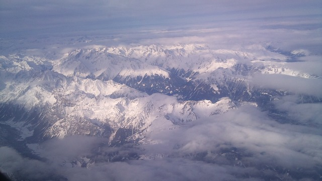Alpine aerial view mountains.
