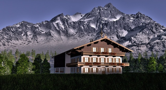 Alpine mountains mountains house, architecture buildings.