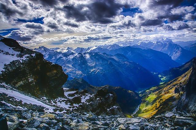 Alpine panorama mountain summit.